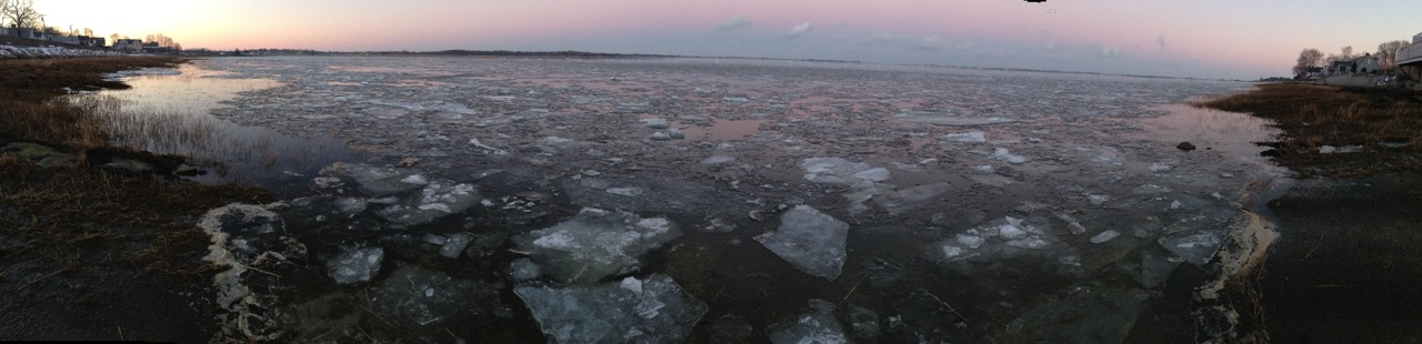 ice floes on the Merrimack River